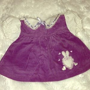 Other - Newborn Baby Girl Purple Corduroy and Lace Dress
